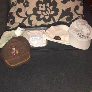 Lot of 5 Assorted newborn 0-6 mos Hats/Caps